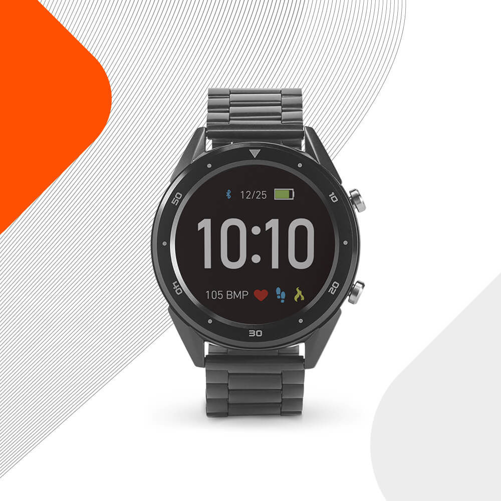 Ekston THIKER I smart watch. Sophisticated and water resistant with stainless steel strap.